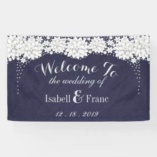 Elegant Blue Floral Pattern Party Wedding Banner