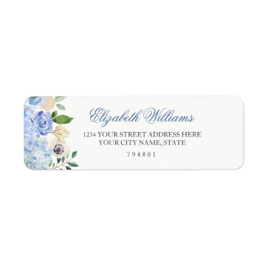 Elegant Blue Floral Return Address Label