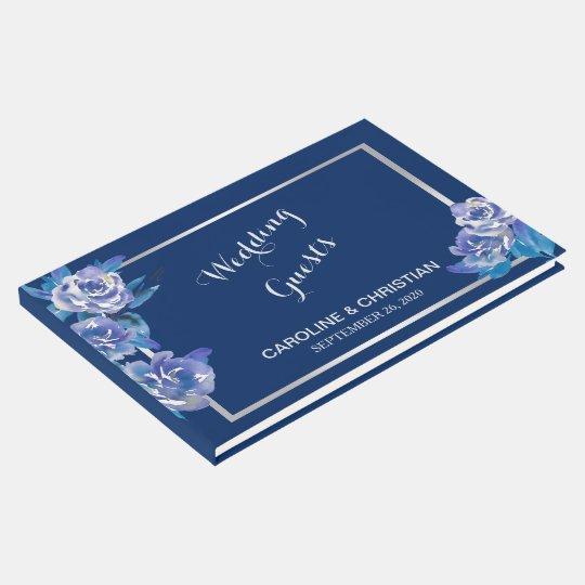 Elegant Blue Floral Silver Wedding Guest Book