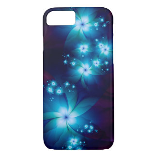 Elegant blue Fractal Flowers iPhone 7 Case