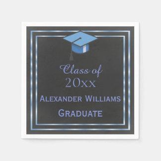 Elegant Blue Framed Graduation Paper Napkin