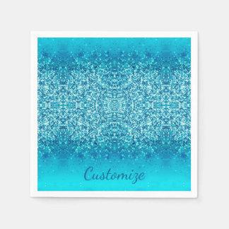 Elegant Blue Frost Sparkle Napkins 2 Disposable Napkins