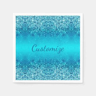 Elegant Blue Frost Sparkle Napkins Paper Napkins