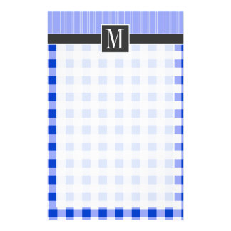 Elegant Blue Gingham; Checkered Stationery