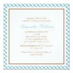 "Elegant Blue Gingham Pattern Baby Shower 5.25"" Square Invitation Card"