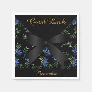 Elegant Blue Glitter Floral Paper Napkins