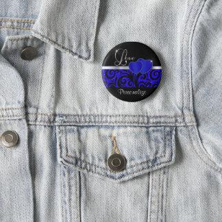Elegant Blue Glitter Love   DIY Name 2 Inch Round Button
