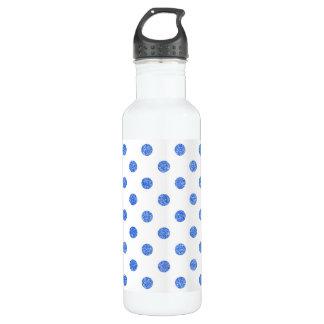 Elegant Blue Glitter Polka Dots Pattern 710 Ml Water Bottle