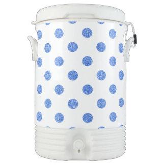Elegant Blue Glitter Polka Dots Pattern Cooler