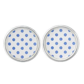 Elegant Blue Glitter Polka Dots Pattern Cuff Links