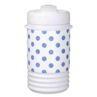 Elegant Blue Glitter Polka Dots Pattern Drinks Cooler