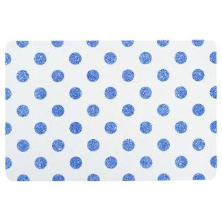 Elegant Blue Glitter Polka Dots Pattern Floor Mat