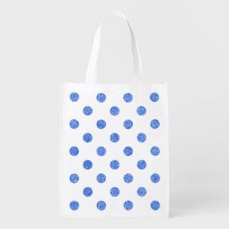 Elegant Blue Glitter Polka Dots Pattern Grocery Bag