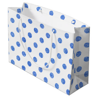 Elegant Blue Glitter Polka Dots Pattern Large Gift Bag