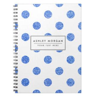 Elegant Blue Glitter Polka Dots Pattern Note Books