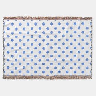 Elegant Blue Glitter Polka Dots Pattern Throw Blanket