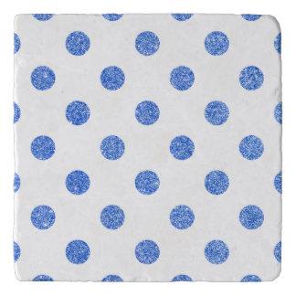 Elegant Blue Glitter Polka Dots Pattern Trivet