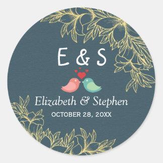 Elegant Blue Gold Botanical Floral Wedding Favor Round Sticker