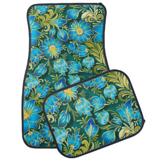elegant blue gold floral pattern car mat set