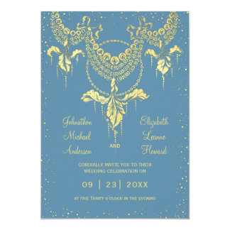 Elegant Blue Gold Iris Garland Wedding Invitation