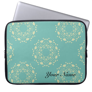 Elegant Blue Gold Laptop Sleeve, custom text Laptop Sleeve