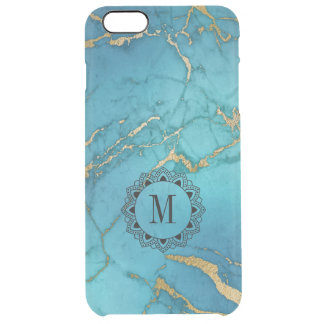 Elegant Blue & Gold Marble Stone Monogram Clear iPhone 6 Plus Case