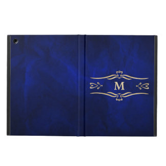 Elegant Blue Gold Monogram Case For iPad Air