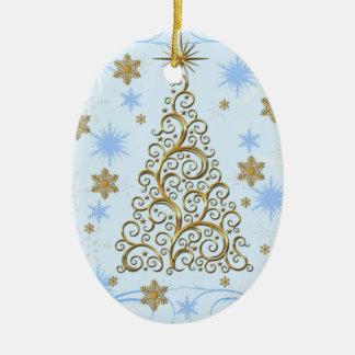 Elegant Blue Gold Swirls Christmas Tree Ornament
