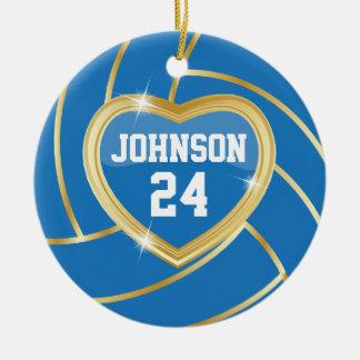 Elegant Blue & Gold Volleyball | DIY Name & Number Ceramic Ornament