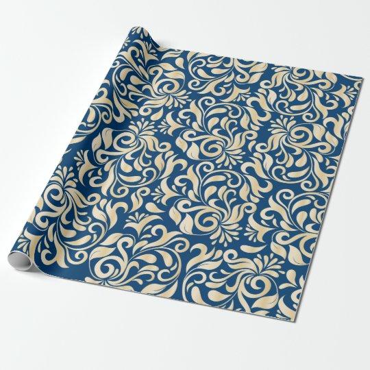 Elegant Blue golden Damask floral pattern