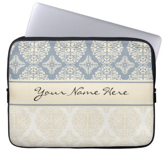 Elegant Blue Gray & Cream Double Damask Laptop Sleeve