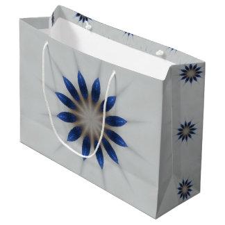 Elegant Blue Gray Kaleidoscope Flower Floral Large Gift Bag