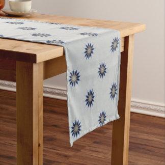 Elegant Blue Gray Kaleidoscope Flower Pattern Short Table Runner