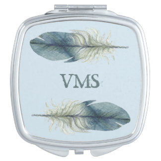 Elegant blue gray watercolor feather MONOGRAM Makeup Mirror