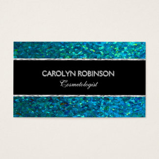 Elegant Blue Green Glitter Business Card