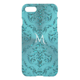 Elegant Blue Green Metallic Damask Monogram iPhone 8/7 Case