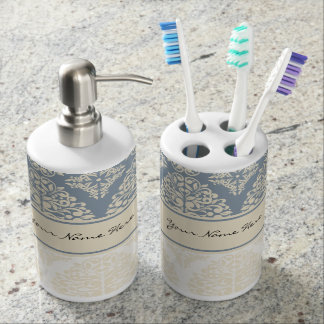 Elegant Blue Grey & Cream Double Damask Bathroom Set