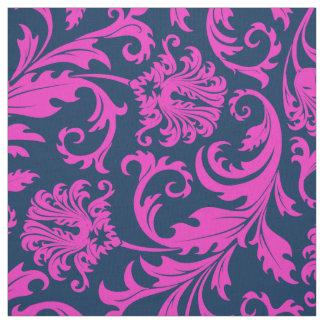 Elegant Blue & Hot Pink Floral Damasks Fabric