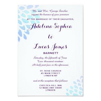 Elegant Blue Hydrangea Formal Wedding Invitation
