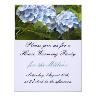 Elegant Blue Hydrangea House Warming Invitation