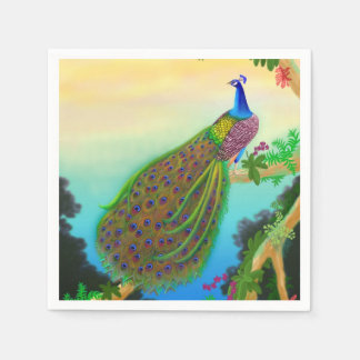 Elegant Blue Indian Peacock Napkins Paper Napkin