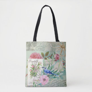 Elegant Blue Jay Bird Vintage Pink Floral and Name Tote Bag