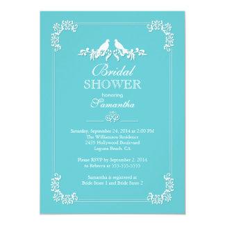 "Elegant Blue Love Birds Bridal Shower 5"" X 7"" Invitation Card"