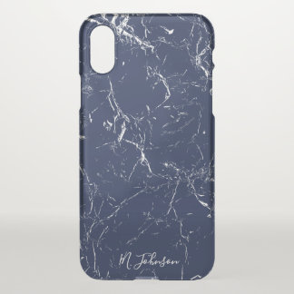 Elegant Blue Marble Personalized iPhone X Case