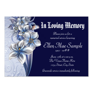 Elegant Blue Memorial Service Announcements