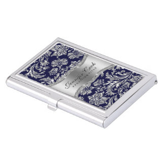 Elegant Blue & Metallic Silver Vintage Damasks 2 Business Card Holder