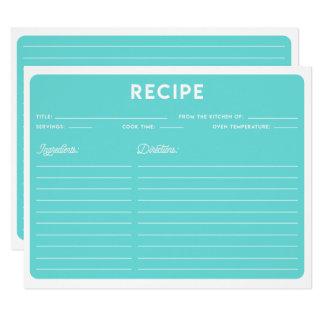 Elegant Blue Modern Typography Recipe Card