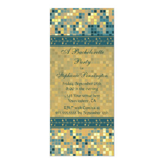 Elegant blue mosaic bachelorette party invitation