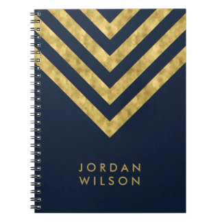 Elegant Blue Name Faux Gold Chevron Pattern Notebooks