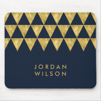 Elegant Blue Name Faux Gold Triangle Pattern Mouse Pad